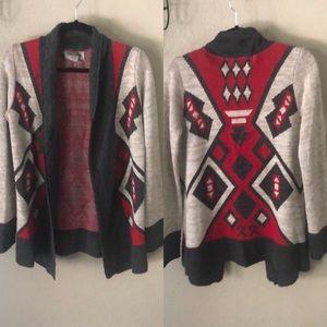 Ecote eztec tribal open cardigan sweater size S